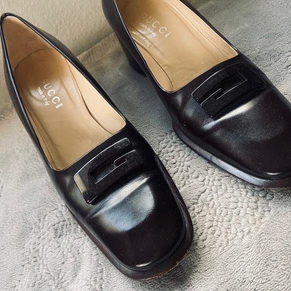 Gucci Dark Brown Leather Block Heel Pumps